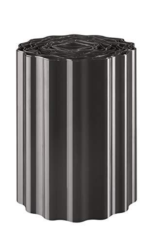 EXCOLO 9m Rasenkante 15 cm hoch Beeteinfassung Beetumrandung Rasenbegrenzung Raseneinfassung grau schwarz anthrazit