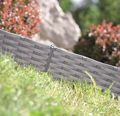 Rasenkante Gartenpalisade Beeteinfassung Beetumrandung 39m Rattan-Optik 3 Farben von rg-vertrieb Grau