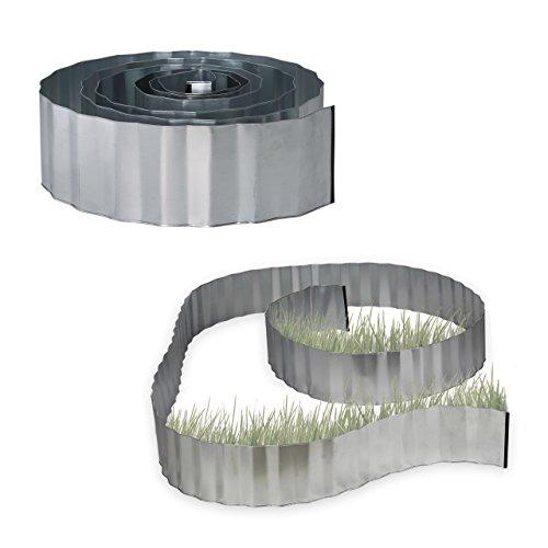 Relaxdays 2x Rasenkante verzinkt Beetumrandung Metall Beeteinfassung als Wurzelsperre LxH 5 m x 16 cm flexibel silber grau