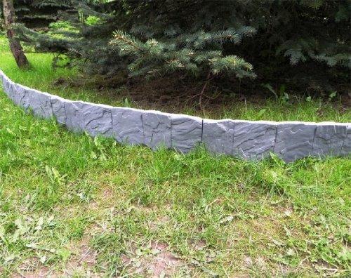 Zaun Mauer Palisade Rasenkante Beeteinfassung Stein 228 m x 13 cm grau 15 cm stark