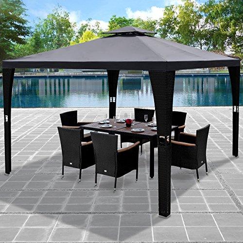 Deuba Pavillon 3x3m Anthrazit Polyrattan Festzelt Partyzelt Garten Gartenzelt Zelt Gartenpavillon ✔ Sonnendach ✔ Modellauswahl