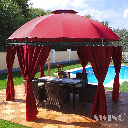 Swing Harmonie LED - Pavillon 350cm Lavo - mit Seitenwänden und LED Beleuchtung  Solarmodul Runder Gartenpavillon Partyzelt Gartenzelt Rund rot