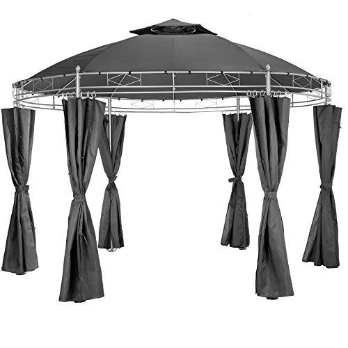 TecTake Luxus Pavillon Gartenpavillon Partyzelt Eventpavillon rund Ø 350cm  inkl Seitenteile und Befestigungsmaterial - Diverse Farben - Anthrazit  Nr 402456