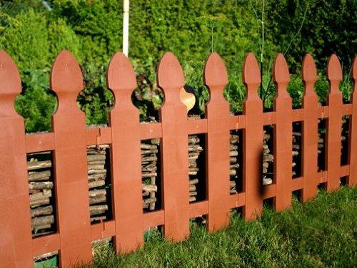 WOOLUX GARDEN Abverkauf Zaun Rasenkante Beeteinfassung Palisade Gartenzaun Friesenzaun 195 m x 55 cm dunkelbraun