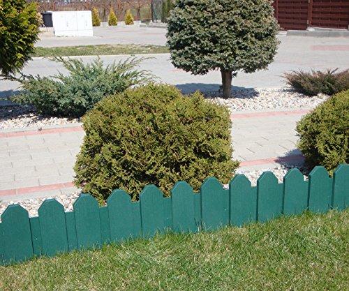Zaun grün 240 m Rasenkanten Beeteinfassung Palisade Beetumrandung Garten Rasen Zierzaun Gartenzaun