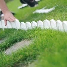 WOOLUX GARDEN Set Zaun Rasenkante Beeteinfassung Palisade Gartenzaun 10 m Farbe weiß