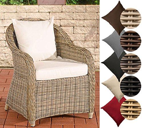 CLP Polyrattan-Sessel FARSUND inklusive Sitzkissen I Robuster Gartenstuhl mit Einem Untergestell aus Aluminium I In verschiedenen Farben erhältlich Rattan Farbe Natura Bezugfarbe Cremeweiß