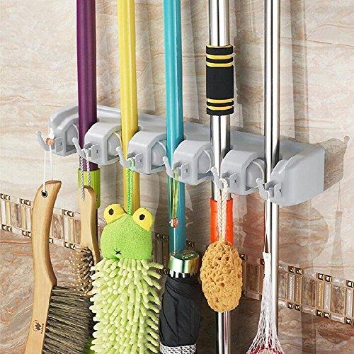 Itian Multifunktions Haushalts Mopp und Besen Kunststoff-Wandhalterung Umbrella Storage Rack 5 Position 6 Haken
