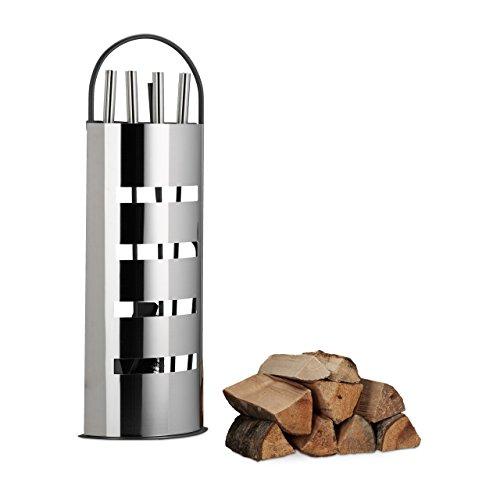 Relaxdays 10022290 Kaminbesteck Set 5 TLG Kamingarnitur Gusseisen modern Halter Schaufel Besen Zange und Haken grau-Silber