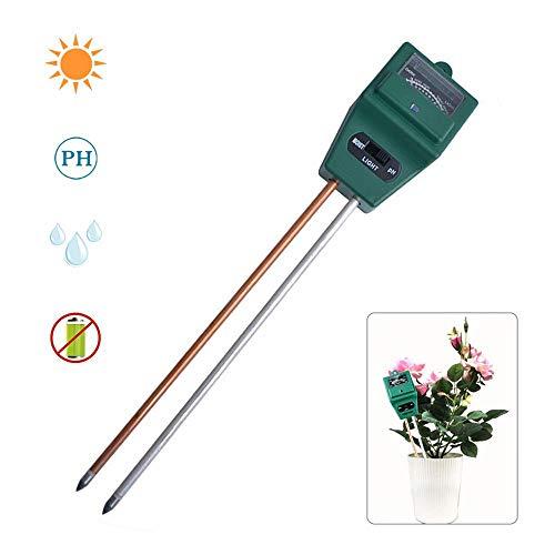 FOONEE Bodenfeuchtigkeitstester 3-in-1-Boden-Test-Kit – BodenfeuchtigkeitsmesserSäure-MessgerätpH-Tester für Zuhause Garten Rasen Bauernhof IndoorOutdoor Keine Batterie erforderlich