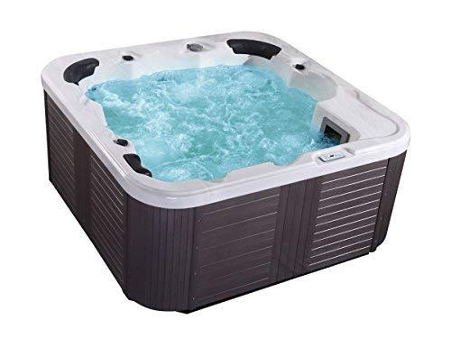Outdoor Whirlpool Hot Tub Venedig Farbe weiß mit 44 Massage Düsen  Heizung  Ozon Desinfektion  LED Beleuchtung für 5 - 6 Personen für Garten  Terrasse  Außen