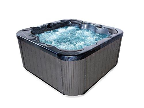 Outdoor Whirlpool Hot Tub Zeus Farbe schwarz mit 44 Massage Düsen  Heizung  Ozon Desinfektion  LED Beleuchtung Außenpool für 5 - 6 Personen für Garten  Terasse  Außenbereich