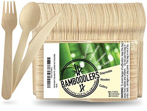 Bamboodlers Einwegbesteck Set aus Holz  100 Natürlich Umweltfreundlich Biologisch abbaubar und Kompostierbar -Der Umwelt zuliebe – 200er Pack 165cm Besteck 100 Gabeln 50 Löffel 50 Messer