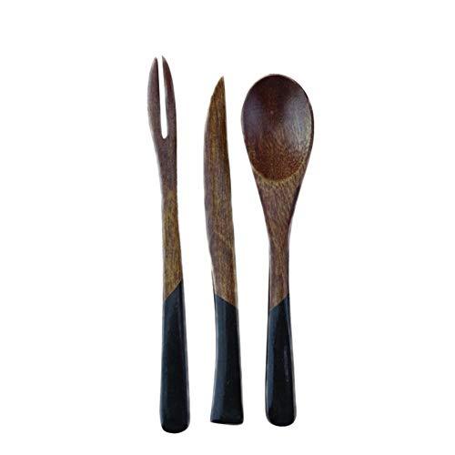 Wetour Holz Besteck Set Holz besteck Vintage einschließlichund kuchenmesser Holzlöffel hölzerne Gabel