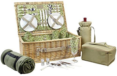 HappyPicnic Picknickkorb für 4 Korb aus natürlichem Weidengeflecht ausgestattet mit einer Weintasche Kühltasche Decke und Besteck aus rotem PU