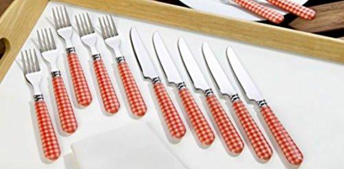 Unbekannt Besteck SET 12-teilig Besteckset Grillset Grillbesteck Edelstahl mit Kunststoff-Griffen rot-weiß kariert ideal zum Grillen Grillfest