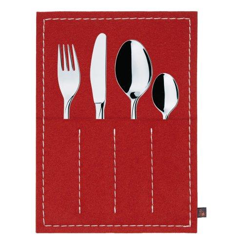 ebos Bestecktasche ✓ 100 Wollfilz ✓ edel und elegant ✓ Aufbewahrung von Besteck  17 x 24 x 06 cm rot