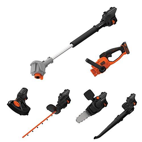 Black Decker SeasonMaster 7-in-1 Akku-Gartengeräte Multifunktions-Set 18V bestehend aus Heckenschere Kettensägen- Gebläse-und Rasentrimmer-Aufsatz plus Verlängerungsstab