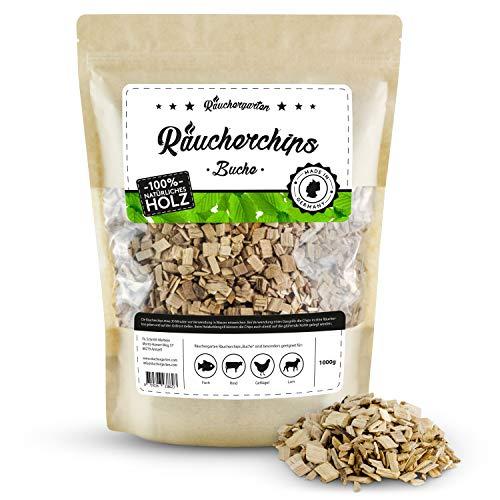 Räuchergarten Premium Räucherchips - 1kg Buche Smoker Chunks für optimales Raucharoma beim Grillen - 100 natürliches Räucherholz aus Deutschland