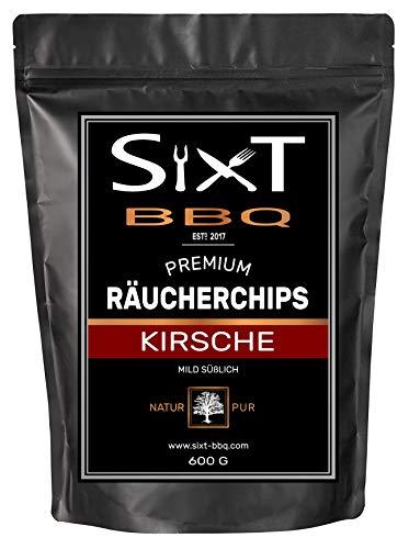 Sixt-BBQ I Räucherchips Kirsche Premium I Wood-Chips für Kugel-Grill Barbecue Raucharoma durch Holz-Späne I 100 natürlich milder Geschmack für GasSmokerKohle-Grill I 600g