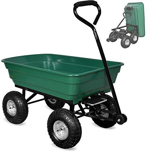 Deuba Gartenkarre aus Kunststoff  Kippfunktion  Lenkachse  Luftreifen - Transportwagen Bollerwagen Muldenkipper Kippwagen Transportkarre Gartenwagen