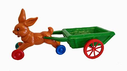 Hase mit Wagen aus Kunststoff 33 cm lang