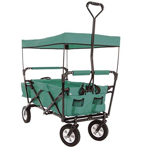 Ultrasport faltbarer Wagen Bollerwagen Picknickwagen Handkarre mit Transporthülle und Dach Grün