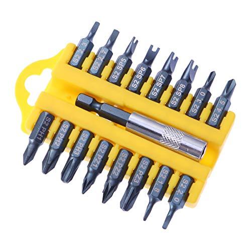 OUNONA 17 in 1 Magnetische Schraubendreher-Bits Set S2 Stahl Philips Pozis YU Dreieck-Typ Elektro Schraubendreher mit Bit-Halter