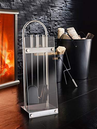 Fachhandel Plus Exklusives Kaminbesteck mit Glasplatte 4tlg-Set Ofenbesteck Kaminzubehör