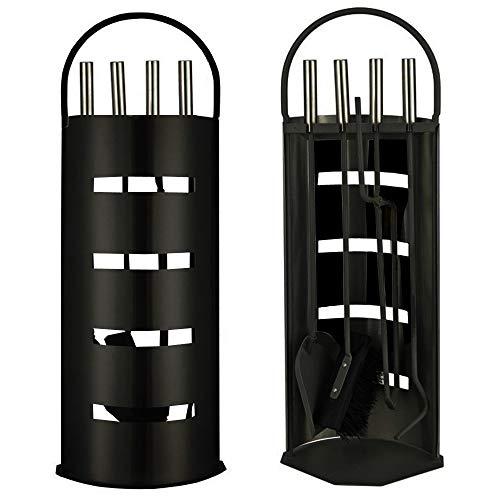 Ora-Tec Kaminzubehör 5-teiliges Kaminbesteck Set - Modern Design beschichtet Schwarz - Hochwertige Kamingarnitur aus 5 Teilen Besen Schaufel Schürhaken Zange Ständer mit Sichtschutz Schwarz