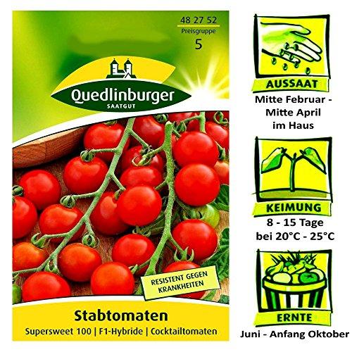 Quedlinburger Stabtomate Sorte Supersweet 100 F1-Hybride  Cocktailtomate  Ernte Juli bis Anfang Oktober