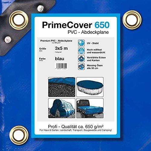 PrimeCover PVC Abdeckplane 650 gm² blau Gewebeplane zur Verwendung als Holzabdeckplane Bootsplane LKWplane oder Schutzplane 3 x 5 mtr