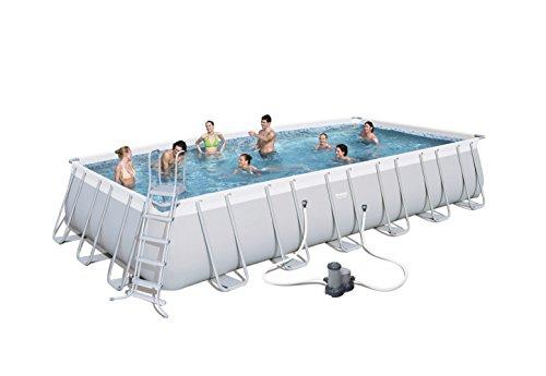 Bestway Power Steel Frame Pool Komplettset viereckig mit Kartuschenfilterpumpe Leiter Boden- Abdeckplane 732x366x132 cm grau