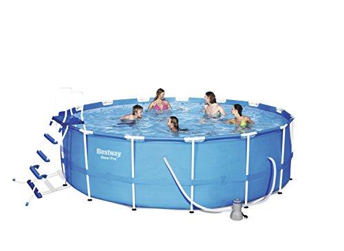 Bestway Steel Pro Frame Pool Komplettset rund mit Kartuschenfilterpumpe Leiter Boden- und Abdeckplane 457x122 cm blau