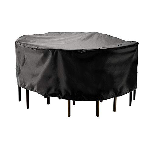 Abdeckplane Outdoor Garden Runde Patio Tisch und Stuhl Möbel Set Cover dauerhafte und Wasserdichte Abdeckung groß schwarz größe  230  110CM