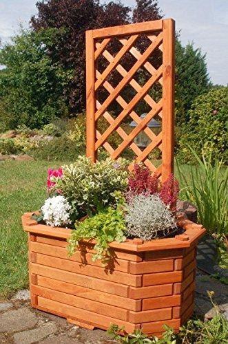 Deko-Shop-Hannusch Pflanzkasten Blumenkasten Blumenkübel aus massivem Holz mit schön gearbeiteter Pergola für den Garten FarbeBraun