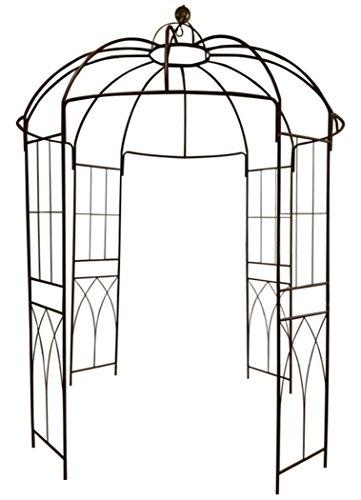 Französischer Stil 4-seitiger Vogelkäfig-Form Metallpavillon Pergola-Pavillon Arch Arbor Arbor Plants Stand-Rack für Garten-Garten-Hinterhof-Patio Kletterpflanzen Rosen Blumen dunkler Rost