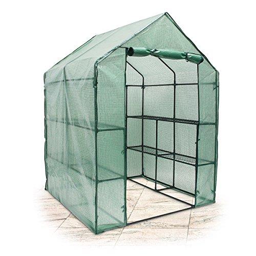 Relaxdays Foliengewächshaus begehbar 190x140x140 cm HxBxT PE Gitterplane Treibhaus mit 8 Ablagen f Anzucht grün