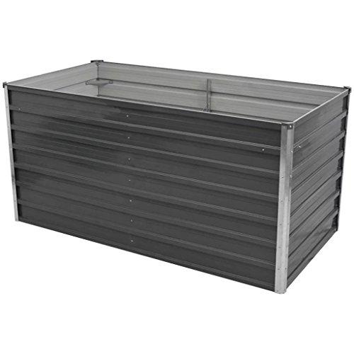 Festnight Hochbeet Gartenbeet aus Verzinkter Stahl Terrasse Balkon Pflanzbeet 160 x 80 x 77 cm Grau