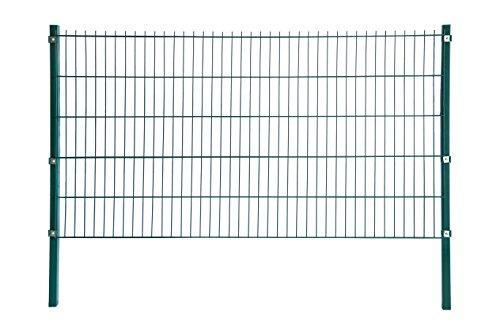 Home Deluxe Doppelstab-Mattenzaun - Komplett-Set - Höhe 203cm - Länge 2m - Verzinkt Pulverbeschichtet UV-Beständig - Moosgrün