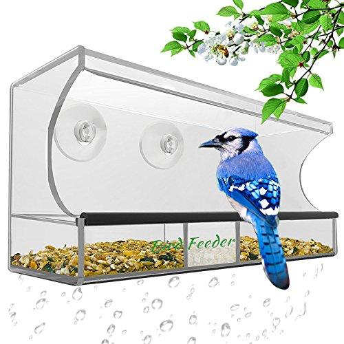 Premium Futterspender Vogel – AnTom Vogelhaus mit Stander mit Abnehmbarem Tablett Ablasslöcher und 3 Saugnäpfe - Groß Transparent