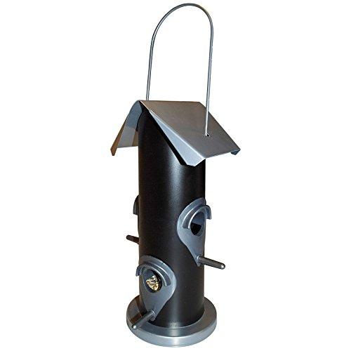 Vogelfutter-Station 25 cm Futterspender mit 4 Futteröffnungen Vogelhaus zum Aufhängen mit Metalldach - Vogelfutter-Spender perfekt für Wildvogelmischungen