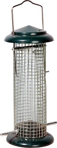 dobar 11513 Metall-Futtersäule mit Edelstahlgitter Wildvogel-Futterspender für Nüsse Durchmesser 95 x 23 cm grün