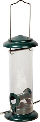 dobar 11516 Plexiglas-Futtersäule mit 2 Anflugstangen Metall-Futterspender zum Aufhängen Durchmesser 95 x 23 cm grün