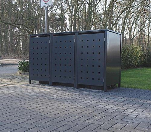 3 Mülltonnenboxen Modell No2 für 240 Liter Mülltonnen  komplett Anthrazit RAL 7016  witterungsbeständig durch Pulverbeschichtung  mit Klappdeckel und Fronttür
