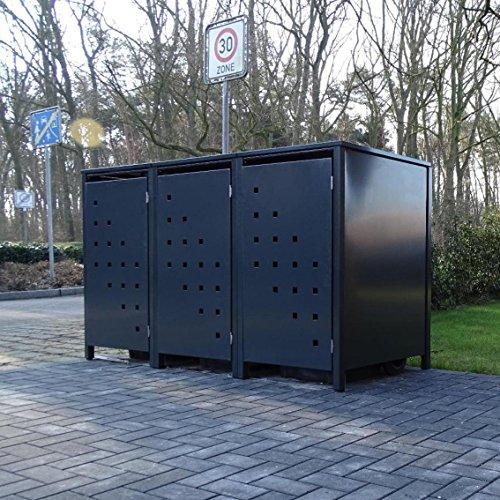 3 Mülltonnenboxen Modell No3 für 240 Liter Mülltonnen  komplett Anthrazit RAL 7016  witterungsbeständig durch Pulverbeschichtung  mit Klappdeckel und Fronttür