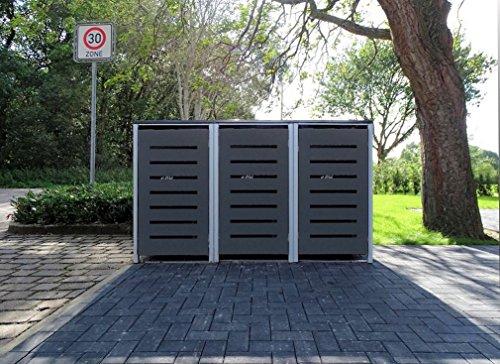 3 Mülltonnenboxen Modell No6 Anthrazitgrau für 240 Liter Mülltonnen  witterungsbeständig durch Pulverbeschichtung  mit Klappdeckel und Fronttür