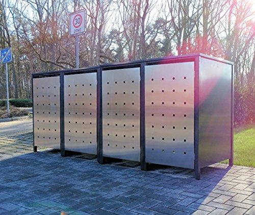 4 Mülltonnenboxen Edeldesign No1 für 240 Liter Mülltonnen Anthrazit - Edelstahl  witterungsbeständig durch Pulverbeschichtung  mit Klappdeckel und Fronttür aus Edelstahl