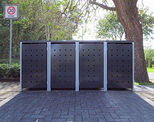 4 Mülltonnenboxen Modell No2 Anthrazitgrau für 240 Liter Mülltonnen  witterungsbeständig durch Pulverbeschichtung  mit Klappdeckel und Fronttür