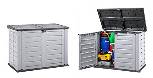 Kreher 2 Stück XXL Mülltonnenbox aus robustem Kunststoff Deckelöffnung mit Gasdruckfeder Abschließbar Passend für 240 Liter Mülltonnen Maße 1558 x 904 x 1166 cm